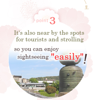Point 3  It's also near by the spots for tourists and strolling so you can enjoy sightseeing